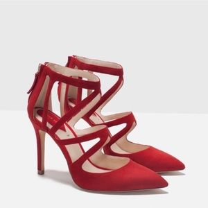 Zara Red Suede Strappy High Heel